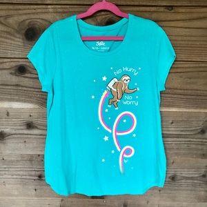 Justice Rainbow Sloth Glitter T-Shirt 10/12 Plus